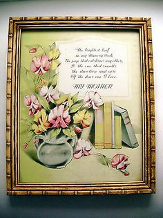 vintage MY MOTHER Saying Motto Poem Print Framed, chartreuse pink