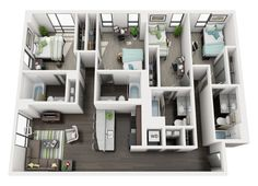 20 images of 4 bedroom apartments. 3d House Plans, Model House Plan, House Layout Plans, Bedroom House Plans, House Layouts, Apartment Guide, Apartment Layout, House Beds, House Rooms