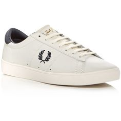 Fred Perry Spencer Lace Up Sneakers ($110) ❤ liked on Polyvore featuring men's fashion, men's shoes, men's sneakers, white, mens lace up shoes, mens white shoes, fred perry mens shoes, mens leather sneakers and mens white leather shoes