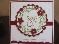'Joy' Wreath by Michele G - Cards and Paper Crafts at Splitcoaststampers