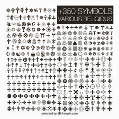 Variety of religious symbols Free Vector