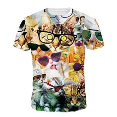 Raisevern New Animal Cat Print T Shirt Kitten The Destroyer T-shirt Harajuku Style Men Women Top Tees T-shirts 3d T Shirts, Casual T Shirts, Casual Tops, Estilo Harajuku, Animal Print T Shirts, Animal Print Fashion, Harajuku Fashion, Harajuku Style, Urban Fashion