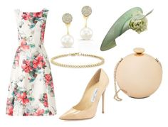 """""""Royal Garden Party"""" by neeeea ❤ liked on Polyvore featuring Phase Eight, Jimmy Choo, Love Moschino, Anne Sisteron and Philip Treacy"""