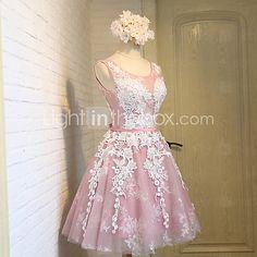 Linha A Vestido de Noiva Até os Joelhos Decote em U Renda / Tule com Renda / Faixa / Fita de 2016 por R$270.37