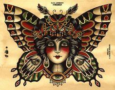 Butterfly Girl Tattoo Flash, Spider Murphy's Tattoo Flash - Old School Traditional Chest Tattoo, Traditional Butterfly Tattoo, Traditional Tattoo Old School, Traditional Tattoo Design, Traditional Tattoos, Traditional Tattoo Flash Art, Old School Tattoo Motive, Old School Tattoo Designs, Flash Art Tattoos