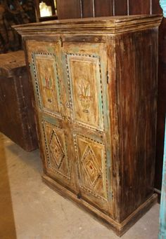 Indian Antique Hand Carved Wooden Cabinet with front 2 door two-shelf cabinet for plenty of storage, this is the perfect piece for your bedroom. Wood Storage Cabinets, Rustic Cabinets, Wooden Cabinets, Rustic Farmhouse Furniture, Vintage Farmhouse, Farmhouse Design, Mid Century Rustic, Armoire Makeover, Antique Armoire