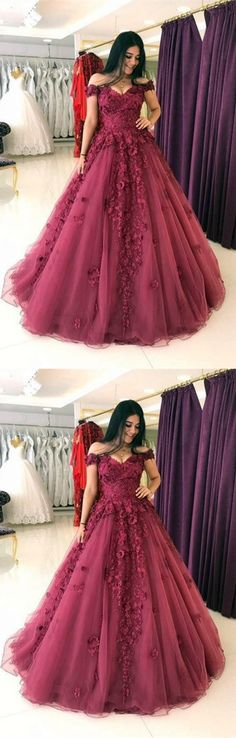 ball gown burgundy tulle long prom/evening dresses #prom #promdress #promdresses #eveningdress #eveningdresses