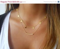 Black Friday Sale  Gold Layered Necklace Set Coins by annikabella