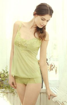 Triumph international Japan Catalog 2013. Cute & Beautiful Lime Green  lingerie.