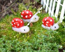 Fairy Garden Snail on a Nail in Red FREE SHIPPING if added to another item