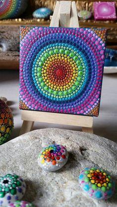 Mandala pintado a mano Dotart Dotilism hippie bohemio