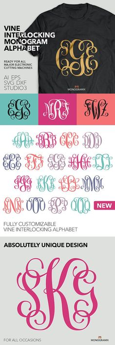 Vine Interlocking Monogram Alphabet (Ai, EPS, SVG, DXF, Studio) Personal Monogram Letters, Cut files for Silhouette Studio, Cutting Machines