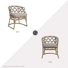 Daily Find: Meadow Blu Gabby Coralee Dining Chair vs. LuxeDecor Gabby Coralee Dining Chair, rattan chair look for less, copycatchic luxe living for less, budget home decor and design, daily finds, home trends, sales, budget travel and room redos