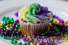 King Cake Cupcakes with a baby on top for gender reveal!!!