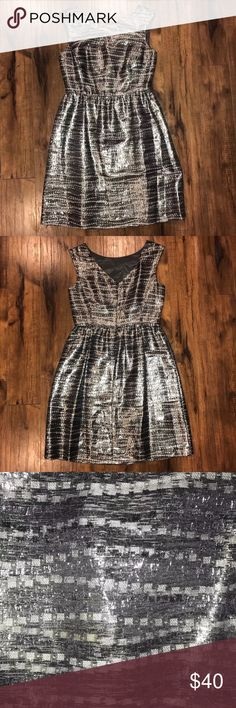 "Antonio Melani Silver Foil NYE Cocktail Dress •Material- 39% Rayon, 35% Nylon, 26% Metallic (shell); 100% Acetate (lining) •Waist- 14"" •Length (from armpit)- 27.75"" •Width (armpit to armpit)- 17.5"" ANTONIO MELANI Dresses Mini"