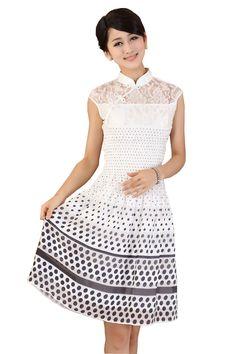 JTC Women's Cheongsam Style One-piece Lady Sundress Chinese Dress Wedding Gown at Amazon Women's Clothing store: