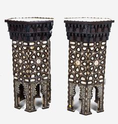 Pair of inlaid Syrian occasional tables
