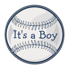 Baseball Ball Fan Its A Boy Baby Shower Edible Frosting Rounds This its a boy baby product is perfect for the expecting parents featuring a baseball with red stitching and blue text. Great for an baseball player, fan or coach. Use for a boy or girl baby shower. #baseball #babyshower #itsaboy #sports