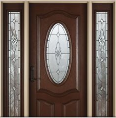 Architect Series Deluxe Oval 3-Panel fiberglass entry door with Castile glass. Visit us & Sheffield decorative glass collection by Pella Windows and Doors ...
