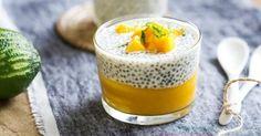 Chia with mango pudding Vegan Desserts, Raw Food Recipes, Sweet Recipes, Dessert Recipes, Cooking Recipes, Healthy Recipes, Breakfast Recipes, Detox Recipes, Chia Pudding