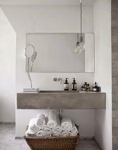 Reasons to Use Concrete Countertops in Your Bathroom Modern bathroom design. Bathroom Toilets, Laundry In Bathroom, Bathroom Inspo, Simple Bathroom, Bathroom Interior, Bathroom Inspiration, Interior Inspiration, Washroom, Bathroom Styling