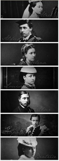 7 of the 9 children of Queen Victoria of the UK and Prince Albert of Saxe-Coburg-Gotha.