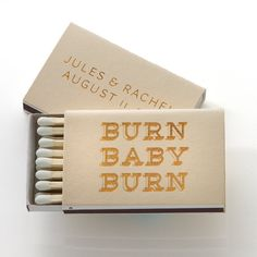 Our BURN BABY BURN MATCH BOXES are designed to light your fire! This item comes with your names/date personalized and can be made in any of our papers and colors! #foil #matchbox #wedding