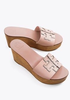 Visit Tory Burch to shop for Ines Wedge Slide and more Women's Sale. Find designer shoes, handbags, clothing & more of this season's latest styles from designer Tory Burch. Pump Shoes, Women's Shoes Sandals, Women Sandals, Pumps, Block Sandals, Wedge Shoes, Shoes Flats Winter, Tory Burch Sandals, Womens Shoes Wedges