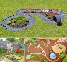 Leuk voor de boys, een racebaan in de tuin!