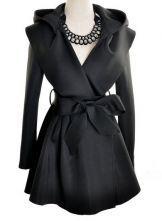 Black Hoodie Belt Waist Open Long Coat $31.94