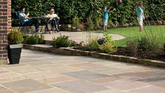 Thinking of laying sandstone paving? Learn how to lay sandstone paving slabs the right way with our quick and easy guides - Marshalls - Creating Better Spaces Patio Slabs, Paved Patio, Concrete Patios, Brick Patios, Sandstone Paving Slabs, Landscape Design, Garden Design, Paving Design, Paving Ideas