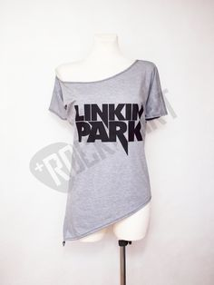 Off shoulder tunic asymmetric tshirt for women rock shirt Linkin Park by Rockshirt on Etsy