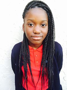 Box braids for pre-teens, great style for school aged girls.