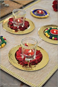Pinkz Passion : A Dash of Glam on your table ( Diwali Tablescape) - Vanisree Dasaraju - Diwali Decoration Lights, Thali Decoration Ideas, Diwali Decorations At Home, Diwali Lights, Flower Decorations, Decor Ideas, Indian Decoration, Handmade Decorations, Diwali Party