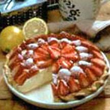 Strawberry Lemondrift Pie - This pie bursts with springtime flavor with its luscious creamy lemon filling and topping of red, ripe fresh strawberries with a light dusting of powdered sugar.