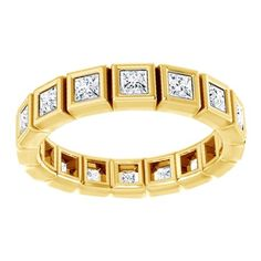 Princess Cut Natural Diamond Full Eternity Band Ring In Solid Yellow Gold Ct), Full Eternity Ring, Eternity Ring Diamond, Eternity Bands, Diamond Rings, Princess Cut Diamonds, Natural Diamonds, Band Rings, Fine Jewelry, Anniversary