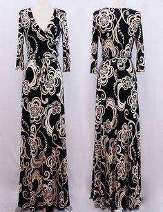 BLACK & TAN WHITE Floral MAXI DRESS Jersey Faux Wrap LONG SKIRT vtg S M L #tamarstreasures #WrapDress #Cocktail