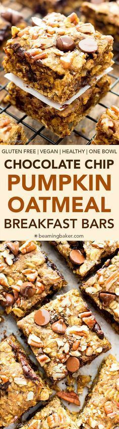 Gluten Free Pumpkin Chocolate Chip Oatmeal Breakfast Bars (V, GF): a healthy fall recipe for oatmeal breakfast bars bursting with pumpkin spice flavor, walnuts and chocolate chips. #Vegan #GlutenFree #DairyFree #Healthy #RefinedSugarFree #Breakfast | Beam http://healthyquickly.com