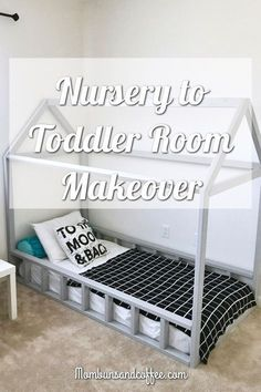Neutral nursery turned toddler room with Montessori floor bed gray and monochrome