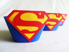 Superman or Supergirl Cupcake Wrappers 12 count by JazzyBug, $12.99