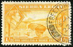 "Sierra Leone 1944 Scott 181A 1sh 3p orange yellow ""Rice Harvesting"""