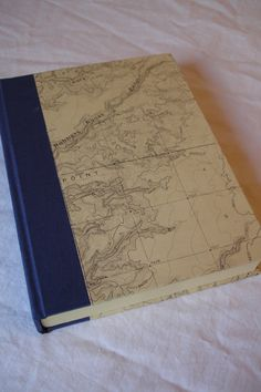 Rustic Blank Book Unlined Paper Journal - Blue Linen Cloth with Vintage Topographical Map Cover Paper