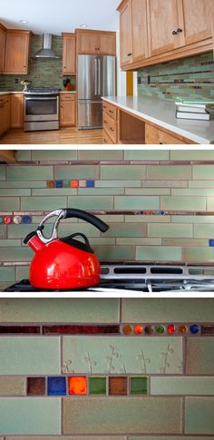 Handmade tile backsplash for your next kitchen renovation project! Mod Mosaics offer a spin on classic subway tile with bold accents of beautiful color! Customizable and ready to order tile by Mercury Mosaics.
