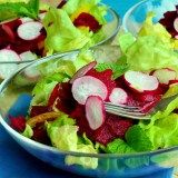Green Leaves and Beets Radish Salad
