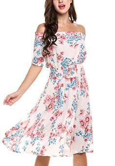 63d177c2a012 JQstar Women Floral Print Casual Dress Off Shoulder Short Sleeve Elastic  Waist Pleated A-Line Swing Party Dress at Amazon Women s Clothing store