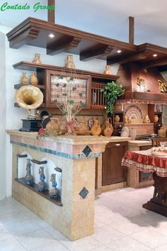 Image of Casale bricked kitchen Mexican Style Kitchens, Mexican Kitchen Decor, Mexican Home Decor, Home Decor Kitchen, Custom Kitchens, Modern Farmhouse Kitchens, Rustic Kitchen, Hacienda Kitchen, Mexico House