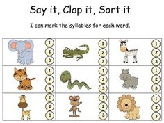 1000 images about syllables on pinterest syllable sorting and zoo animals. Black Bedroom Furniture Sets. Home Design Ideas