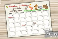 Birthday Predictions For Baby Shower With Woodland Animals - Printable Calendar Due Date And Birthday Guess for Baby - Instant Download - w1 by DigitalitemsShop on Etsy
