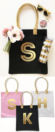 Event Blossom Modern Gold Monogram Canvas Tote Bag (3 Colors) | Personalized Gifts and Party Favors