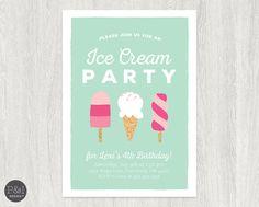 Ice Cream Birthday Party Invitation   Any Age    DIY   Customized Printable